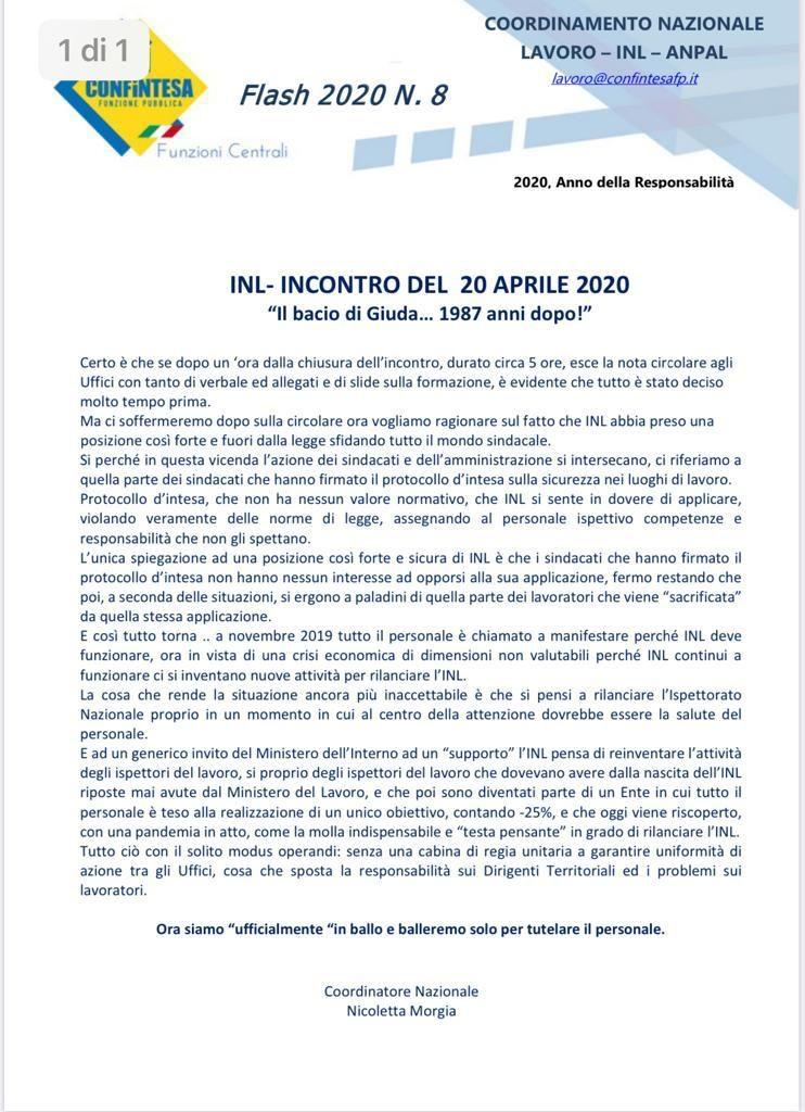 INL – INCONTRO DEL 20 APRILE 2020. IL BACIO DI GIUDA 1987 ANNI DOPO!